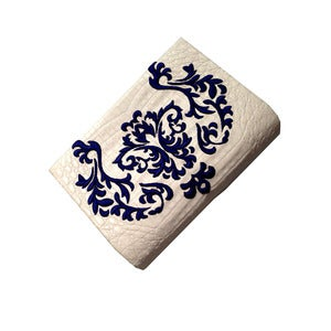 Image of White Crocodile with Blue Embroidery Clutch 