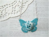 Image of Blue Butterfly with Blue & White Flower Necklace