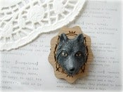 Image of Black Wolf with Wooden Frame Brooch