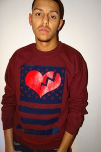 Image of (Mens) MAROON HEART FLAG CREW