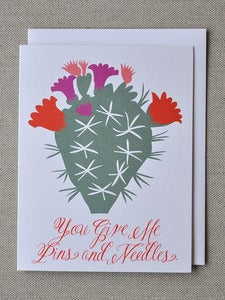 "Image of ""You Give Me Pins and Needles"" Cactus Note Card"