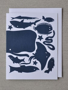 Image of Deep Blue Winter Fish Note Card