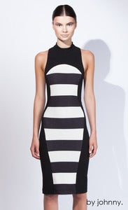 Image of The Curved Stripe Turtle Dress - Black Ivory