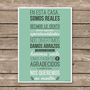 "Image of Lámina ""En esta casa somos reales"" / Poster ""In this house we are real"""