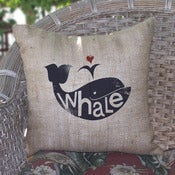 Image of Whale Burlap Pillow
