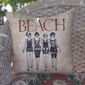 Image of Swimsuit Dolls Burlap Pillow