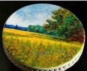 Image of Hand-Painted Cake Stand-Claude Monet's: Oat and Poppy Field