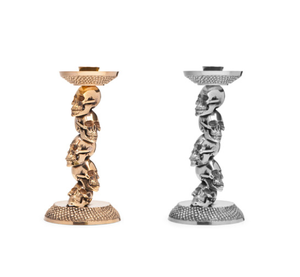 Image of DL & Co. - Stacked Skull Candle Stick in GOLD