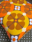 Image of Pomme de Jour Vintage Fabric Cushion Cover - 1970s Orange/Brown Flower Fabric