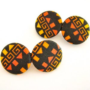 Image of Orange &amp; Black Aztec Hair Clips