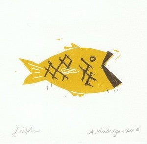 Image of Swimming Fishy Print - Ochre