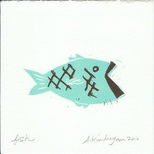 Image of Swimming Fishy Print - Turquoise