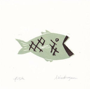Image of Swimming Fishy Print - Sage Green