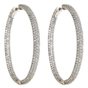Image of Kara Ackerman <I>Talulah <i/> Large Micro Pave Set Hoops in Rhodium Plating