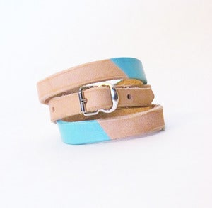 Image of Colorblock Leather Wrap Bracelet - Made in USA