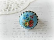 Image of Round Blue Floral Limogue Ring
