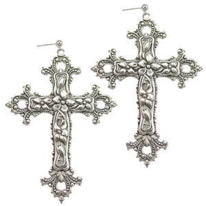 Image of Victoria. Huge Silver Baroque Cross Earrings
