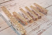 Image of Glittery Gold Clothespins