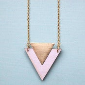 Image of Lilac Wooden Triangle Necklace by Rachel Loves Bob