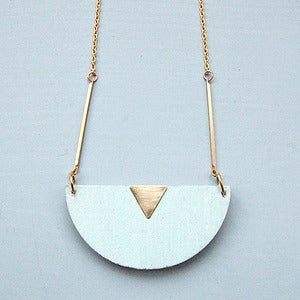 Image of Mint Half Moon Wooden Necklace by Rachel Loves Bob