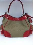 Image of  Prada Tan Jacquard Logo Canvas and Red Croc Embossed Leather Handbag