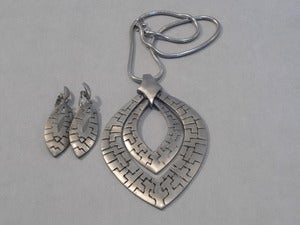 Image of Silver Tribal Necklace and Earring Set