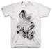 Image of Snake and Chrysanthemum on White T-shirt