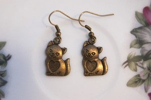 Image of Bronze Cat Earrings