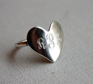 Image of Monogrammed Heart Ring