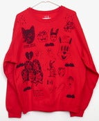 Image of Freestyle Collab Blue on Red Sweatshirt (Large) by Mildred and Pacolli