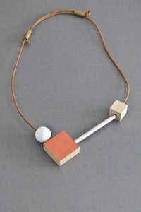 Image of Ladies and Gentlemen block and bar necklace - coral