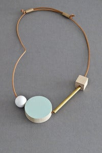 Image of Ladies and Gentlemen block and bar necklace - mint