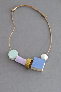 Image of Ladies and Gentlemen block and ring necklace - blue