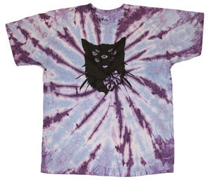 Image of Mutant cat T-shirt - grape tye-dye