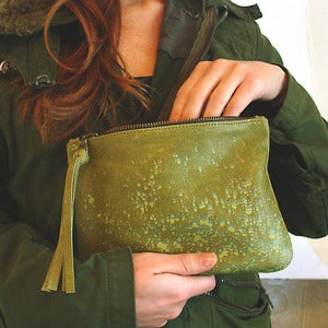 Image of Camouflage Printed Leather Clutch