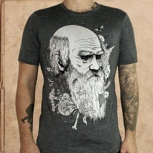 Image of Origin of Species - heather black 50/50 - discharge inks - unisex 