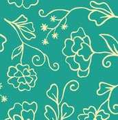 Image of Aqua Outline Floral from Summer House  5985-11