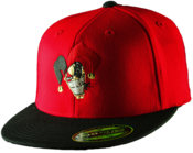 Image of Flexfit Fitted Flat Bill Hat - Red Hat Black Bill