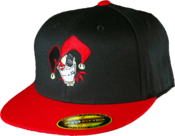 Image of Flexfit Fitted Flat Bill Hat -Black Hat Red Bill