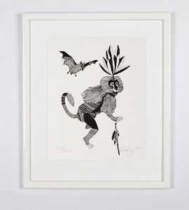 Image of Print#16 - Monkey with shaman stick
