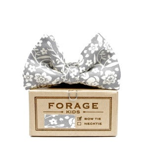Image of grey floral {KIDS bow tie}