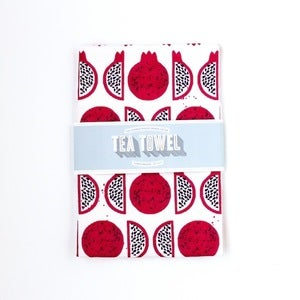 Image of Organic Cotton Tea Towel - Pomegranates