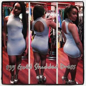 Image of GRAY TURTLENECK STUDDED DRESS