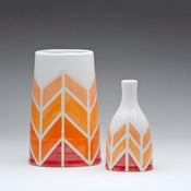 Image of Herringbone Oval Vase in Orange-to-red