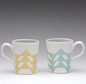 Image of Short Triangle Mug in Turquoise or Yellow