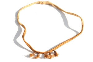 Image of Little Bell Necklace Tan/Pomegranate