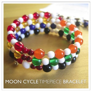 Image of Moon Cycle Timepiece Bracelet | Glass Beads | White Vertebrae