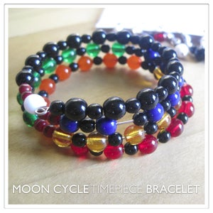 Image of Moon Cycle Timepiece Bracelet | Glass Beads | Black Vertebrae