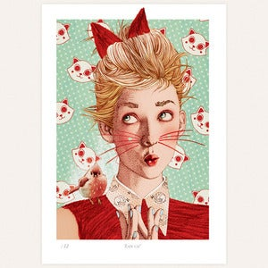 Image of 'Lady cat' print by lodie
