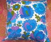 Image of  70s Blue/Turquoise Vintage Fabric, Cushion Pad